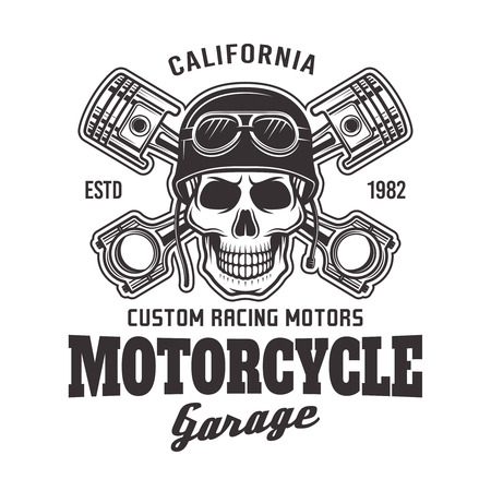 Motorcycle garage vector biker emblem, label with skull in helmet and two crossed pistons in monochrome style isolated on white background Illustration
