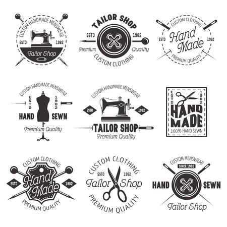 Conjunto de sastrería de emblemas, etiquetas e insignias negras vectoriales aisladas sobre fondo blanco