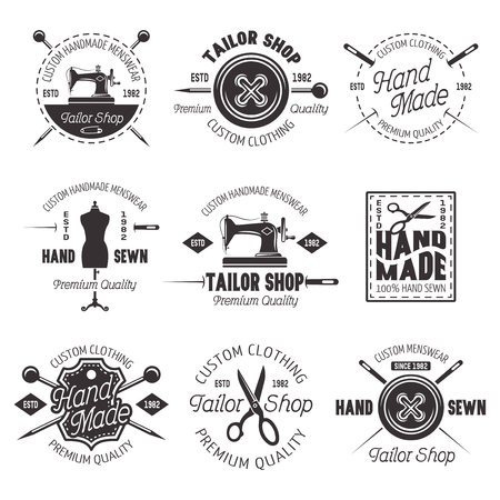 Tailor shop set of vector black emblems, labels and badges isolated on white background