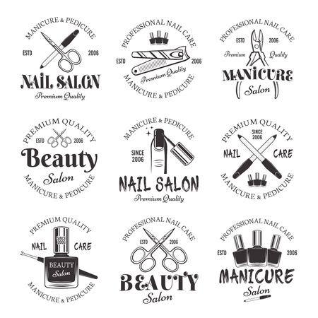 Manicure and pedicure salon set of vector monochrome emblems, labels, badges isolated on white background. Nail care and nails art studio or beauty salon logos collection