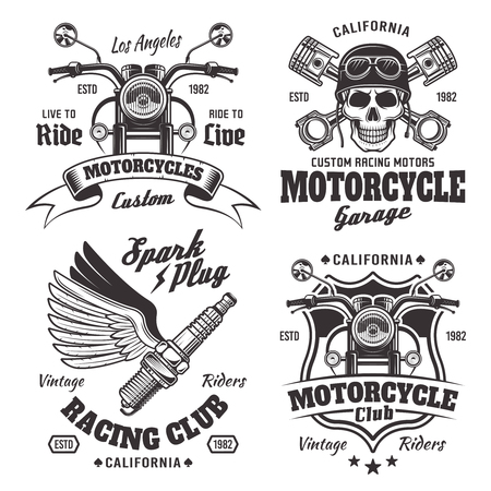 Set of four vintage motorcycles emblems, labels and logos in monochrome style isolated on white background