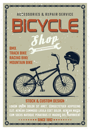 Bicycle shop vector poster in retro style with grunge textures on separate layer. Bike repair service vector illustration with sample text