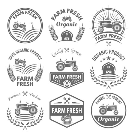 Farm fresh vector product labels, badges, emblems and stickers with tractor isolated on white background. Farming and agriculture, organic food, locally grown vector design elements