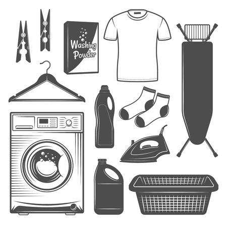 Laundry room or laundry service set of vector icons, silhouettes, design elements in black and white style. Washing machine, ironing board, electric iron, clothes basket, bleach liquid. Illusztráció