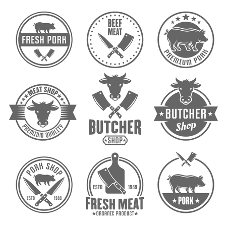 Butcher shop, premium quality meat, beef and pork set of vector monochrome vintage labels, badges, emblems and logos isolated on white background Иллюстрация