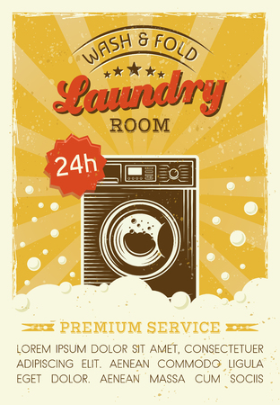 Laundry room vector poster in retro style with washing machine, foam and bubbles, and grunge textures. Laundry service vector illustration