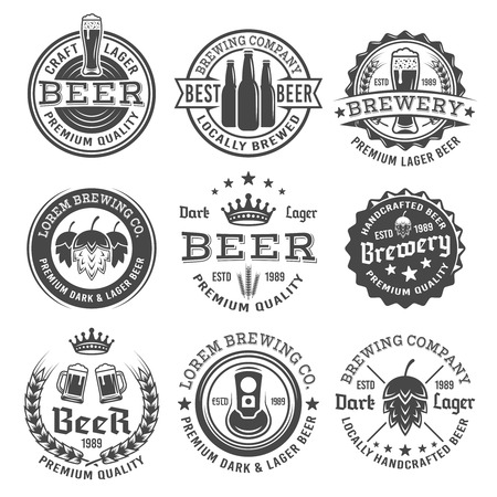 Beer and brewery set of vector retro style black and white labels, emblems, badges and logos isolated on white background. Premium quality beer labels templates.