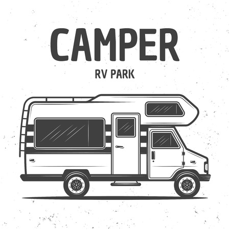 RV camper van or caravan bus isolated vector monochrome illustration on background with grunge texture