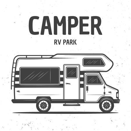 RV Wohnmobil Van oder Caravan Bus isoliert Vektor monochrome Illustration auf Hintergrund mit Grunge-Textur