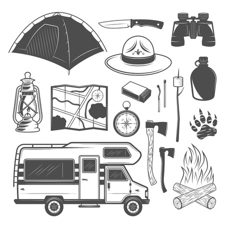 Camping set of vector design elements with camper van and equipments for traveler in monochrome style isolated on white background