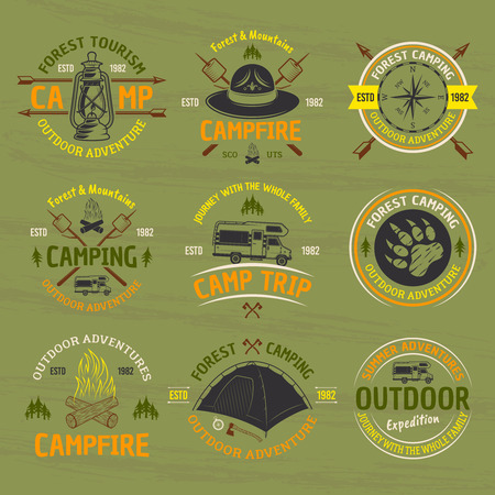 Camping and outdoor adventure set of vector isolated colored labels, emblems, badges and logos on green background with grunge texture Illustration