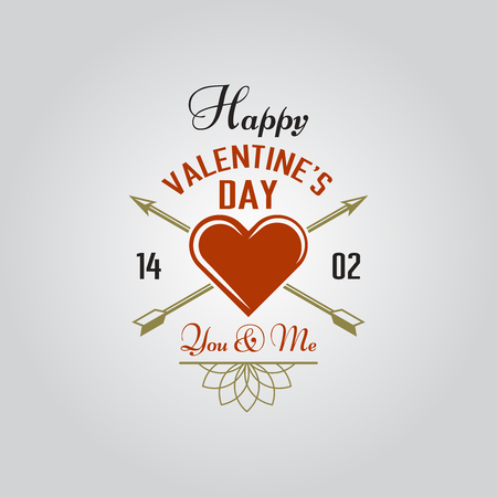 Happy Valentines Day typographic isolated vector labels for holiday cards, heart with two crossed arrows, ornaments and greeting text composition