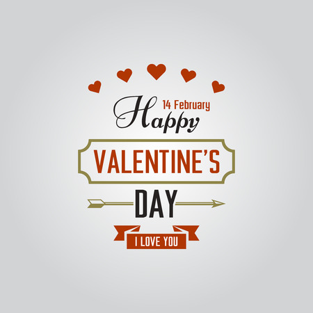 Happy Valentines Day typographic isolated vector labels for holiday cards, greeting text composition with little hearts and arrow Иллюстрация
