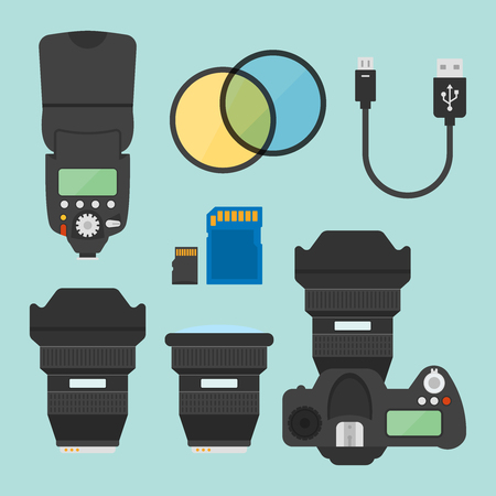 Photography equipments set of vector illustration, design elements in flat style, photo camera top view, flash for camera, memory card, camera lens, usb cable, optical filters