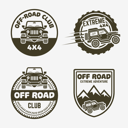 Set of four off-road suv car monochrome labels, emblems, badges or logos isolated on white background. Off-roading trip emblems, 4x4 extreme club emblems, SUV front and side view vector black icon 向量圖像