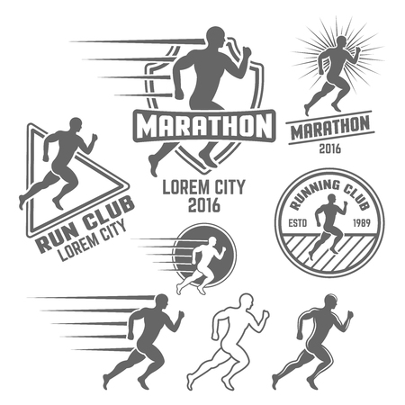 Running club set of monochrome vector labels, badges, emblems, logos and design elements isolated on white background, athlete silhouette Illustration