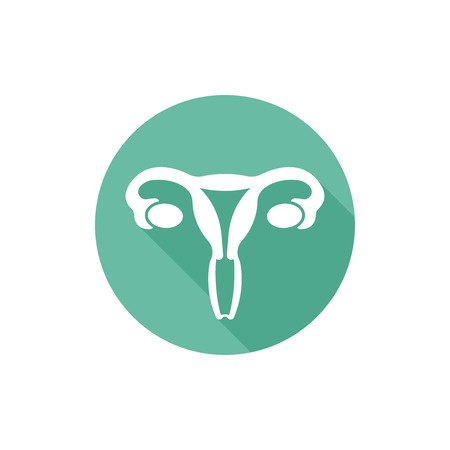 Uterus isolated vector round flat icon with long shadow Illustration