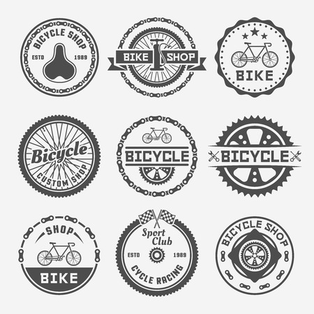 Bicycle shop set of monochrome vector round labels, badges, emblems and logos in vintage style on gray background. Bike repair. Bicycle custom shop. Cycle racing sport club