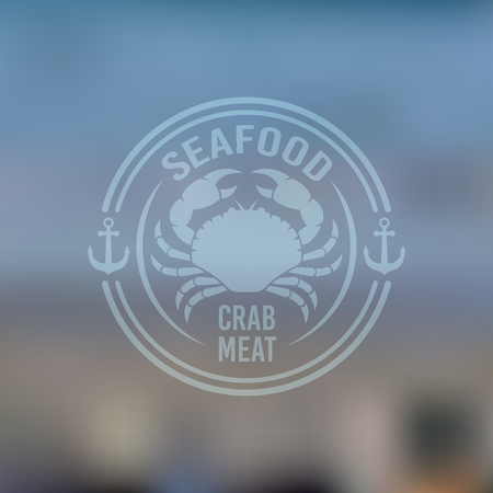 Seafood vector label, emblem or logo isolated on blured background, restaurant menu design elements, round vintage label with crab and little anchors