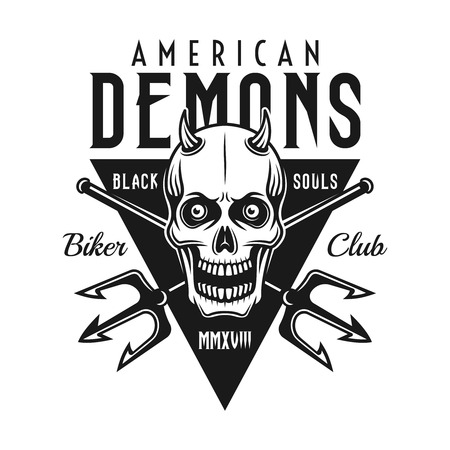 Skull with horns, two crossed tridents and text american demons. Biker club vector emblem in monochrome style isolated on white background Stock Illustratie