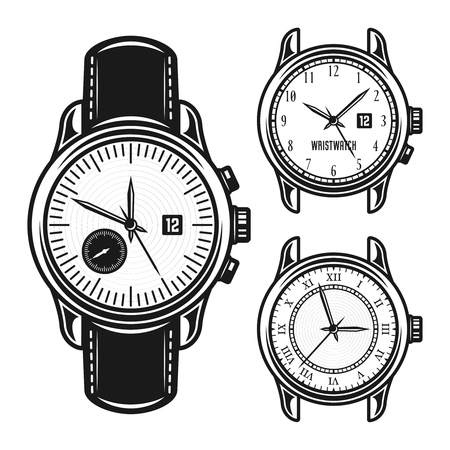 Set of men mechanical watches vector monochrome illustration isolated on white background Illustration