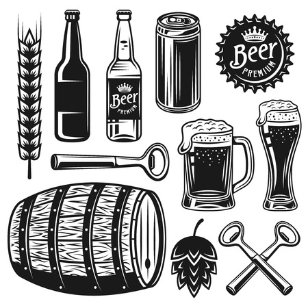 Beer and brewery set of vector black objects or graphic elements in vintage style isolated on white background