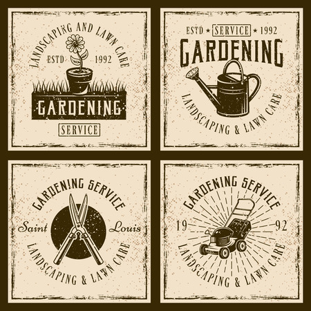 Gardening service set of four vector emblems, labels, badges or prints on background with grunge textures