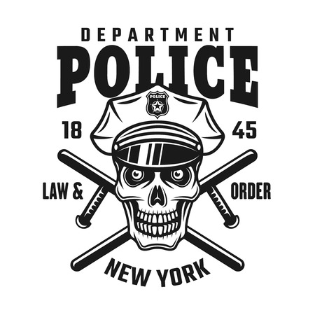 Skull in police cap with two crossed batons vector emblem or shirt print isolated on white background