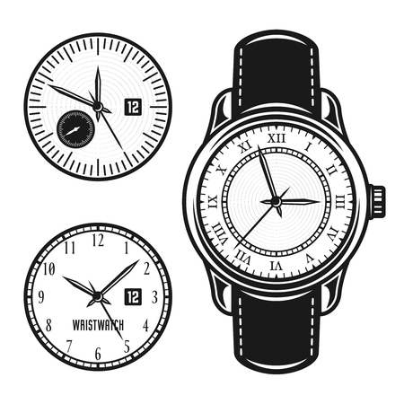 Wristwatch and two clock face set of vector objects or design elements in vintage style isolated on white