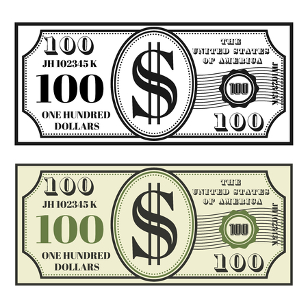 Money banknote set of two style black and colored front view vector illustration isolated on white background