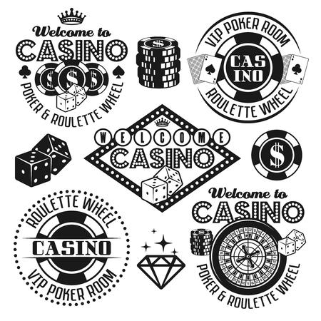 Gambling and casino set of vector black emblems, objects, design elements isolated on white background Çizim