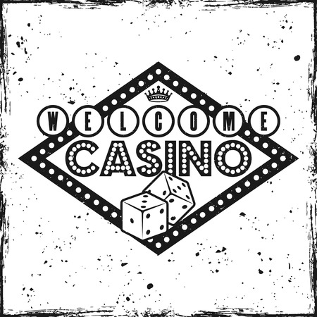 Gambling rhombus emblem with text welcome to casino on textured background vector illustration