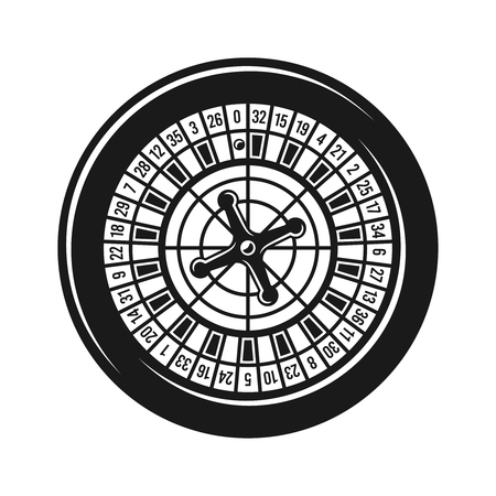 Roulette wheel for casino gambling top view vector black object isolated on white background