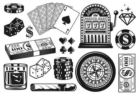 Casino and poker set of vector objects, design elements in vintage monochrome style isolated on white background