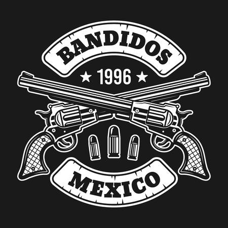 Dos pistolas cruzadas con emblema de vector de texto, etiqueta, impresión o logotipo aislado sobre fondo oscuro