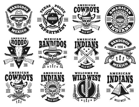 Wild west set di dodici emblemi vettoriali, etichette, distintivi o loghi con teschio di cowboy, capo indiano, bandito messicano in stile monocromatico vintage isolato su priorità bassa bianca Vettoriali