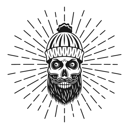 Bearded skull in lumberjack knitted hat with rays vector illustration isolated on white background