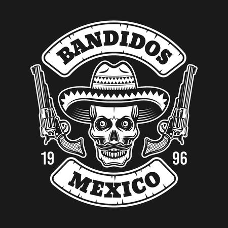 Cráneo de bandido mexicano en sombrero sombrero con dos pistolas vector emblema, etiqueta, impresión o logotipo aislado sobre fondo oscuro Logos