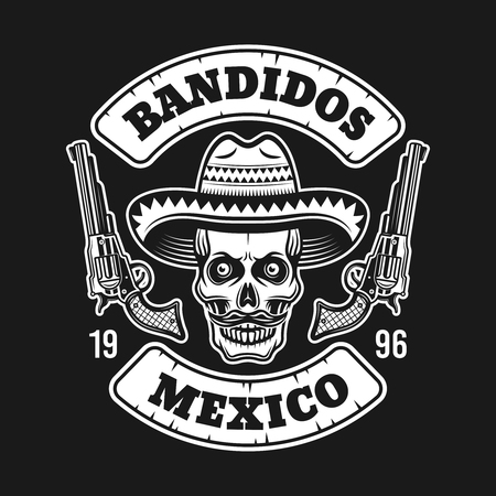 Mexican bandit skull in sombrero hat with two pistols vector emblem, label, print or logo isolated on dark background