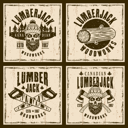 Lumberjack set of four vector brown emblems, labels, badges or prints on background with grunge textures