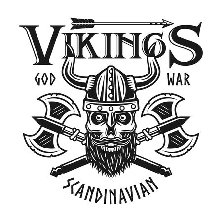 Vikings emblem or shirt print with bearded skull in horned helmet and two crossed axes vector illustration isolated on white background Illustration