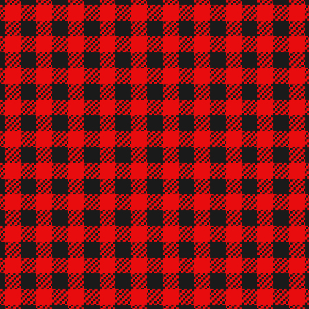 Checkered flannel plaid black and red colors seamless pattern for clothing or background