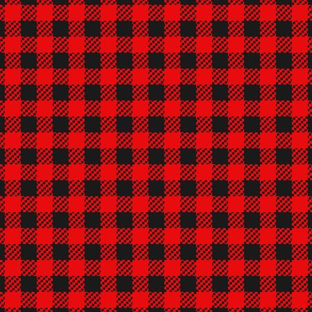 Cuadros de franela a cuadros colores negro y rojo de patrones sin fisuras para ropa o fondo
