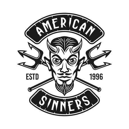 Devil head with two crossed tridents and text american sinners vector monochrome biker emblem or t shirt print isolated on white background Illusztráció