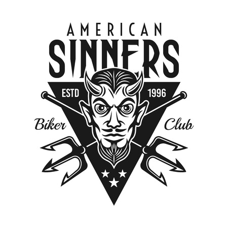 Horned devil head with two crossed tridents and text american sinners vector monochrome biker emblem or t shirt print isolated on white background