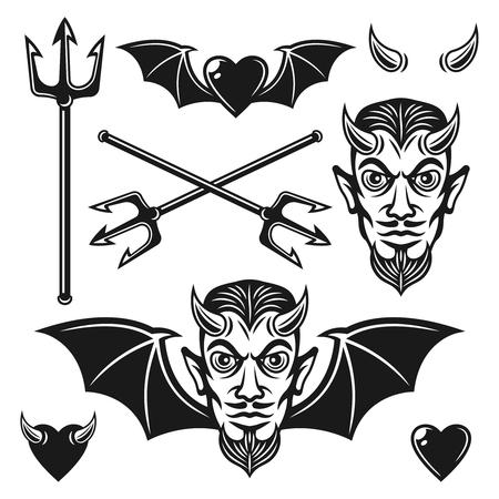 Teufelssatz aus schwarzen Vektorobjekten und Designelementen für Ihre benutzerdefinierten Embleme oder T-Shirt-Drucke einzeln auf weißem Hintergrund Vektorgrafik