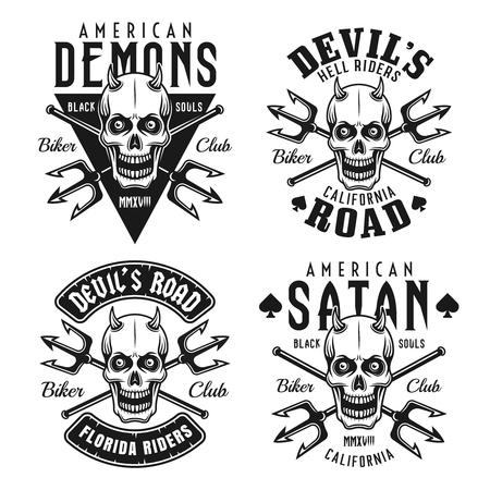 Biker club set of four vector monochrome emblems, badges, labels or t shirt prints with horned skull isolated on white background