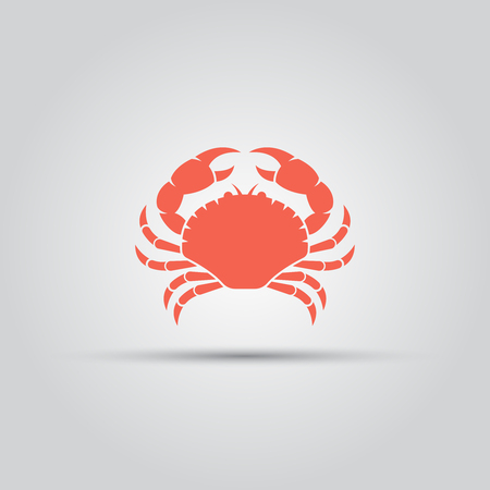 Crab isolated vector colored silhouette icon sign