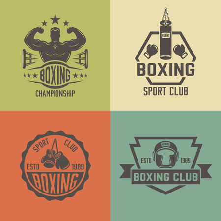Boxing and martial arts, fighting club set of vector colored vintage labels, badges, emblems and logos isolated on white background Illustration