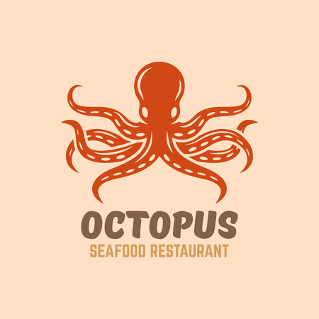 Octopus seafood restaurant menu isolated vector logo template with sample text